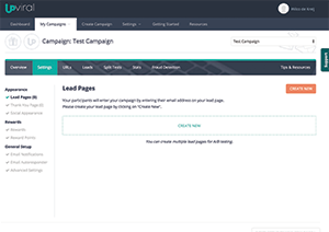 UpViral dashboard for campaign settings.