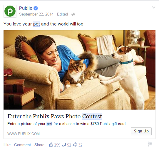 Publix_Paws_Facebook_Contest