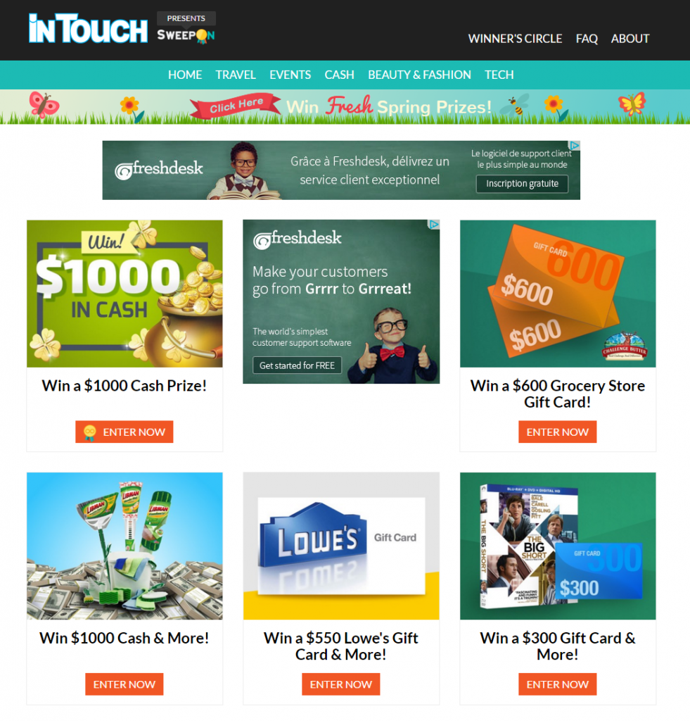 intouch sweepstakes 100 websites to submit and promote online contests upviral 6571