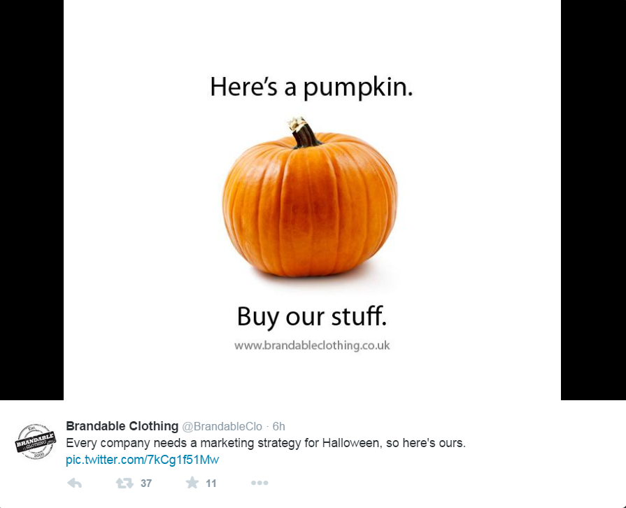 A sample ad with a pumpkin and a website address.