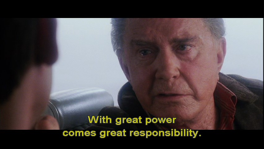 """An old man with texts that say, """"with great power comes great responsibility."""""""
