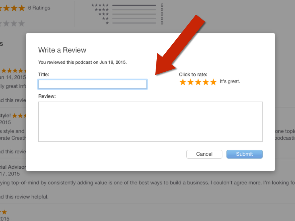 A red arrow pointing to a review form with title and review fields.
