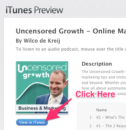 A red arrow labeled Click Here pointing to a View in iTunes blue button.