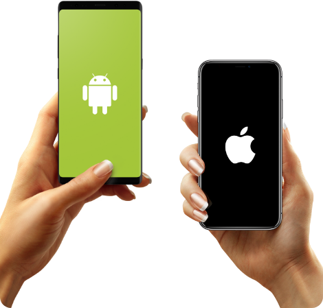 Two hands holding Android and IOS phones.
