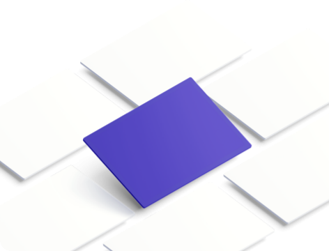 White squares lined diagonally with a lifted violet square in the middle.