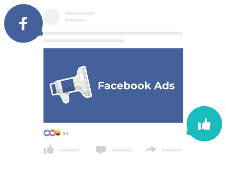 A sample Facebook Ads banner with a like and Facebook icon.