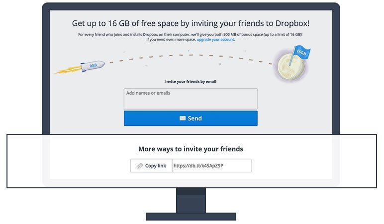 Dropbox's sample share page with an invite link.