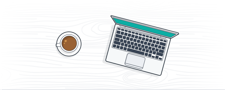 A laptop and a coffee.