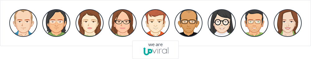Nine vectored representation of the UpViral team with texts that say, 'we are UpViral.'