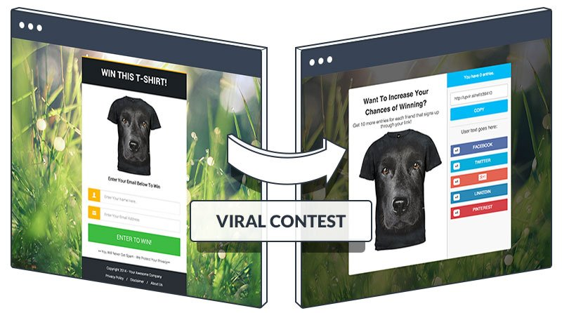 A sample lead capture page and share page for viral contest.