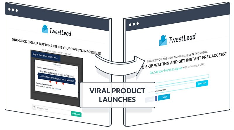 A sample lead capture page and share page for viral product launches.