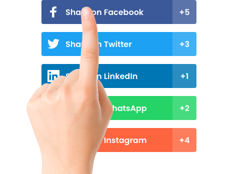A hand picking social sharing buttons.