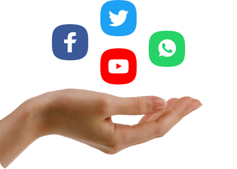 Facebook, Twitter, Whatsapp, and YouTube social icons placed over a hand.